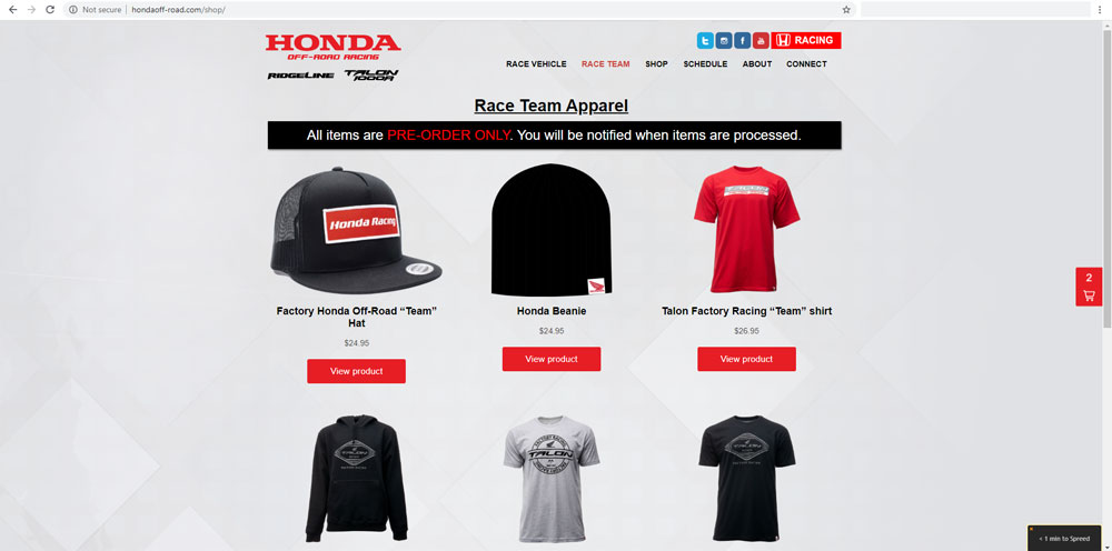 Honda Off Road Website